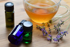 Essential oils with tea Royalty Free Stock Photo