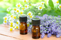 Essential Oils With Lavender And Chamomile Royalty Free Stock Photography