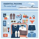 Essential packing for a cruise travel. Essential packing for cruise travel and honeymoon, male and female items, clothing and accessories ready to pack, flat lay royalty free illustration