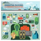 Essential packing for emergency evacuation. Essential packing kit for emergency evacuation, emergency preparedness and safety guide, flat lay objects and tools royalty free illustration