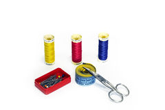 Essential sewing kit. With scissors royalty free stock image