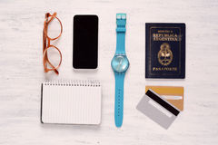 Essential things of of traveler, student or young man Stock Images
