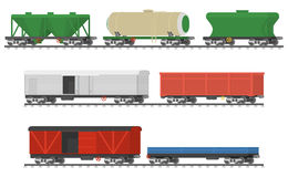 Essential Trains. Collection of freight railway cars. Stock Photos