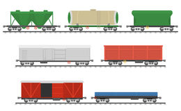 Essential Trains. Collection of freight railway cars. Royalty Free Stock Image