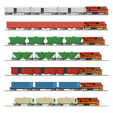 Essential Trains. Collection of freight railway cars. On white background. Vector illustration Royalty Free Stock Photography