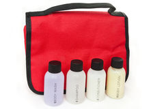 Essential travel toiletry items Stock Images