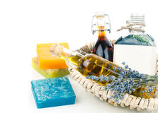 Essential various oils with soap and lavender flowers Stock Photo