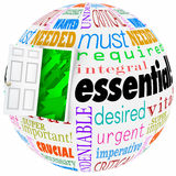 Essential Words Sphere World Wants Needs Crucial Vital Open Door Royalty Free Stock Photos