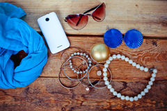 Essentials fashion woman objects Royalty Free Stock Photo