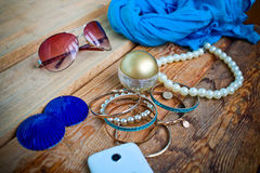 Essentials fashion woman objects Stock Image