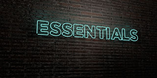 ESSENTIALS -Realistic Neon Sign on Brick Wall background - 3D rendered royalty free stock image Stock Images