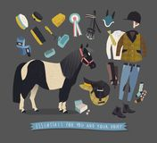 Essentials for young rider and his pony Stock Images