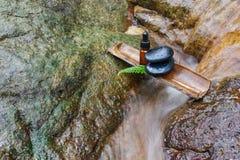 Essentieolie en zen steen in kuuroordconcept Royalty-vrije Stock Foto's