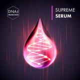 Essenza suprema di goccia dell'olio del collagene con l'elica del DNA royalty illustrazione gratis