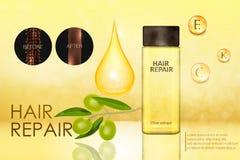 Essenza verde oliva per cura di capelli illustrazione vettoriale