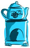 Essenze stilizzate del bruciatore nei toni blu isolate Fotografie Stock Libere da Diritti