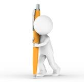 essere umano 3D con una penna arancione Fotografia Stock Libera da Diritti