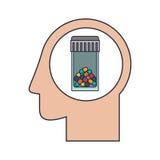 Essere umano capo della siluetta con la bottiglia di pillola variopinta Immagine Stock