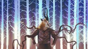 Essere umano con la testa dell'antilope saltante illustrazione di stock