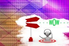 essere umano 3d con wow l'illustrazione del messaggio Immagini Stock