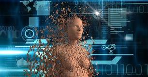 essere umano 3d sopra fondo futuristico Fotografie Stock