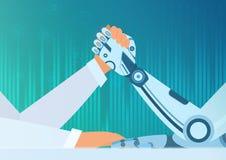 Essere umano di braccio di ferro con un robot Concetto di vettore di intelligenza artificiale Lotta dell'uomo contro il robot illustrazione di stock