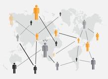 Essere umano di concetto di affari fondo del mondo della mappa Fotografia Stock