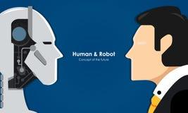 Essere umano e robot illustrazione di stock