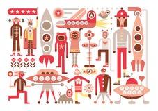 Esseri umani e stranieri illustrazione vettoriale
