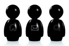 esseri umani neri 3d con i simboli di fotoricettore Fotografia Stock Libera da Diritti