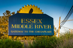 Essex Middle River sign, in Essex, Maryland. Royalty Free Stock Photo