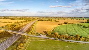 Essex motorway from above. Flying over the A120 in Essex near Braintree and Chelmsford.  Taken with DJI MavicPro drone Royalty Free Stock Photography
