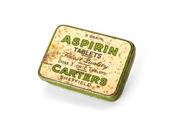 ESSEX, UK, 16 MAY 2016. Vintage aspirin tin, isolated on white Royalty Free Stock Photo