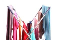 Essiccatore di vestiti isolato su bianco immagine stock libera da diritti