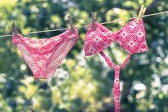 Essiccazione del bikini sulla linea Fotografia Stock