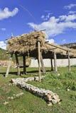 Essiccazione dell'orzo sullo scaffale di legno sull'azienda agricola tibetana in campagna, Zhongdian, Cina Fotografia Stock Libera da Diritti