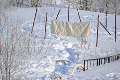 Essiccazione della lavanderia sulla via nell'inverno Fotografia Stock