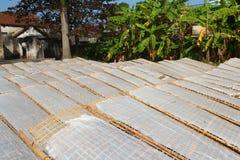 Essiccazione tradizionalmente fatta della carta di riso in sole, Vietnam Immagini Stock Libere da Diritti