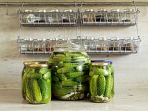 In Essig eingelegte grüne Gurken Lizenzfreie Stockfotos