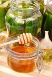 In Essig eingelegte Gurken mit Honig Lizenzfreie Stockfotos