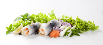In Essig eingelegte Heringe und Gemüse lizenzfreie stockfotos