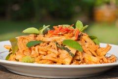 In Essig eingelegter Bambusschoß Paprikacurry Fried Chickens Lizenzfreies Stockbild