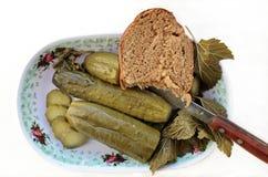 Essiggurken mit Brot auf der Platte Lizenzfreie Stockfotografie
