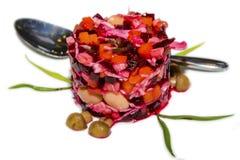 Essigsoße, ukrainischer Rote-Bete-Wurzeln Salat Stockfoto