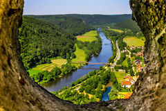 Essing Germany Bavaria  top view Altmuehl valley. Essing, lower Bavaria, top view from castle Randeck of river Altmühl and longest wooden bridge in Europe Royalty Free Stock Photography