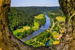 Essing Niemcy Bavaria odgórnego widoku Altmuehl dolina Fotografia Royalty Free