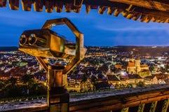 Esslingen f.m. Neckar sikter från slotttrappa, Tyskland Arkivbild
