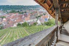 Esslingen f.m. Neckar sikter från slotttrappa, Tyskland Arkivbilder