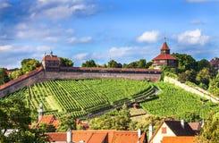 Esslingen f.m. Neckar, Tyskland, scenisk sikt av den medeltida stadmitten Arkivfoto
