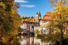 Esslingen f.m. Neckar, Tyskland, scenisk sikt av den medeltida stadmitten Royaltyfri Fotografi